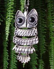 Halskette Eule große Augen Eulenkette Uhu Kauz Kette Owl Necklace silber -farbig