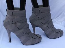 Atmosphere Grey Faux Suede Ankle Boots Decorated with Elastic Straps Size 8/41