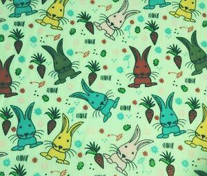 Bundle Remnant Polycotton Fabric 35 cm x 112 cm MINT GREEN  Bunny Rabbit OFFCUT