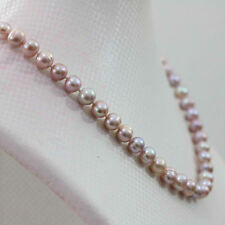 """New Natural pink purple7-8mm akoya freshwater pearl necklace 18"""""""