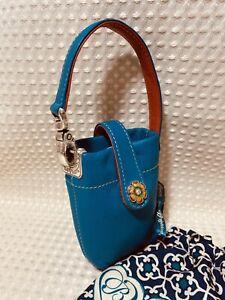 Brighton Mini Handbag Leather Cell Phone Case Holder TEAL & ORANGE Handle Tote