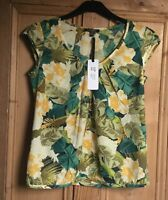 Brand New Women's Emily And Fin Green Palm Print Rosie Pleated Top Sizes 8-14