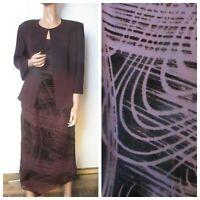 Marina Rinaldi 23 18/20 Devore Burnout Burgundy Evening Dress Jacket Silk Blend