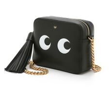 New Anya Hindmarch Bag Crossbody Black Leather Eyes Golden Chain Shoulder Sling