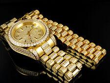 Mens 18k Yellow Gold Finish Stainless Steel Presidential Watch Bracelet Set