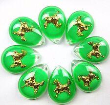 8PCS Beautiful unique green crystal gold inside horse pendant bead Vk3070