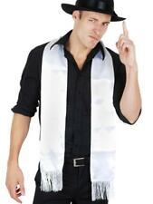 ADULT WHITE 1920's GANGSTER WHITE SATIN LOOK SCARF WITH FRINGE COSTUME ACCESORY