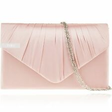 Dusky Pink Satin Wedding Ladies Party Evening Clutch Hand Bag Purse Handbag