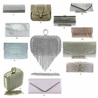 Silver Metallic Pewter Grey Clutch Bags Diamante Animal Croc Wedding Hard Case