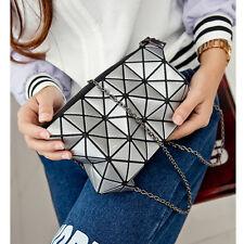 Silver Geometric Diamond Lattice Women Clutch Bag Patchwork Messenger Handbag