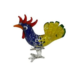 Colourful Yellow Blue Art Glass Menagerie Figurine Rooster 7cm tall