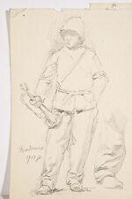 Jules PONCEAU Petit Dessin 1913 Bordeaux Militaire Clairon Corps Santé Colonial