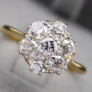 Beautiful 18ct Yellow Gold & Platinum, 1.27ct Old Cut Diamond Cluster Ring