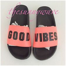 Victoria Secret PINK Slides Sandal Flip Flops Good Vibes Neon Coral NWT M Medium