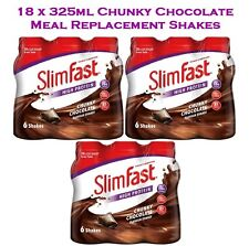 Slim Fast Chunky Chocolate Meal Replacement Shake Multipack 18 Bottles x 325ml