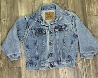 Vintage Little Levi's Orange Tag Faded Denim Jean Trucker Jacket Size 6 USA Made