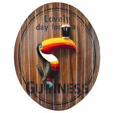 "Guinness Oval Toucan ""Lovely Day for a Guinness"" 3D Wood Bar Pub Sign - New"
