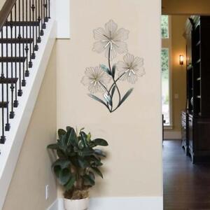 Stratton Home Decor Tri-Flower Wall Decor Metal Entryway Hallway Art Sculpture