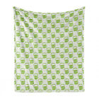 Ambesonne Green Print Soft Flannel Fleece Throw Blanket Plush for Indoors