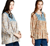 JODIFL Womens Boho Paisley Bohemian Peasant Chic Long Sleeve Top Blouse S M L
