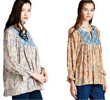 JODIFL Womens Boho Paisley Bohemian Peasant Chic Long Sleeve Top Blouse S M L
