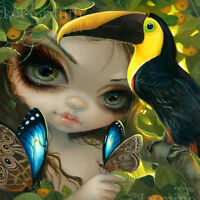 Fairy Face 236 Jasmine Becket-Griffith Art SIGNED 6x6 PRINT toucan butterfly