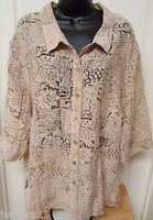 White Stag Womens Sheer Latte Color Button Down Shirt Top Blouse Size 26W 28W