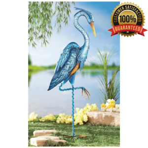 Garden Decor Blue Metal Heron Crane Iron Hand Painted Outdoor Yard Stake Lawn