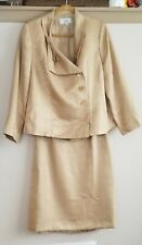 Le Suit Woman 3-Button Asymmetrical Front Gold 2-Piece Skirt Suit Size 14W