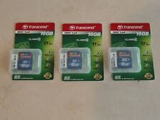 Lot of (3) 16GB class 6 Transcend SDHC Memory Cards for SDHC cameras, New