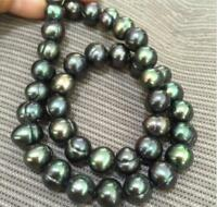 "Genuine 18""  9-10mm Baroque South Sea Black Green Pearl Necklace"