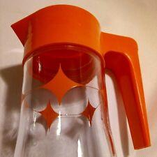VTG 1969 MCM ANCHOR HOCKING TANG GLASS CARAFE ORANGE JUICE PITCHER 1 QUART W LID