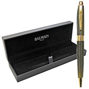 Balmain Kugelschreiber Gold-Farben mit Geschenkbox Schwarz Schreibgerät Metall