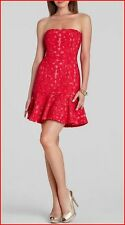 BCBG MAXAZRIA MARINA RIO RED RIBBON APPLIQUE DRESS size 4 NWT $368-RackA/30B