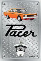 Pop A Top Wall Mount Bottle Opener Metal Sign - Hemi VG Pacer 2 Door Orange