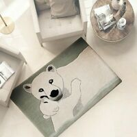 Tappeto bagno salotto camera 100% lana 60x90 cm scendi letto morbidissimo orso