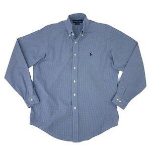 Ralph Lauren Yarmouth Button Down Shirt Men's Size 15 1/2 34/35 Blue Long Sleeve