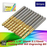 """10Pcs 1/8"""" 3.175mm Carbide End Mill Titanium Coated CNC Router PCB Engraving Bit"""