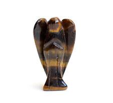 "1.5"" Tiger Eye Stone Carved Crystal Reiki Healing Guardian Angel Wing Figurine"