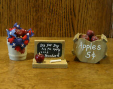 Doll/Teddy Miniature Accessory; Apple Assortment: Barrel, Basket, Chalk Board