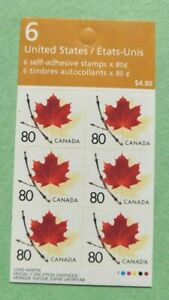 """Canada Stamp #2013a (BK282) """"Red Maple Leaf on Twig"""" Booklet pane of 6  MNH 2003"""