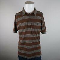 Patagonia Brown Gray Short Sleeve Organic Cotton Stripe Casual Polo Shirt Mens M