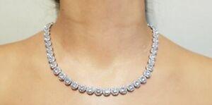 Tennis Necklace Earrings Rhodium Bridal set Swarovski Inspired 2pc UK Seller