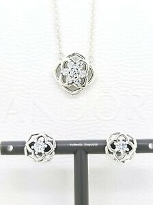 New 100% PANDORA 925 Sparkling Rose Petals Necklace, Stud Earrings, Gift Set