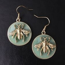Queen Bee Pierced Earrings French Hook Gold Toned Bumblebee NEW