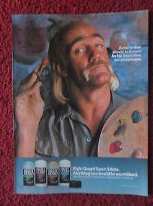 1992 Print Ad Right Guard Deodorant ~ HULK HOGAN WWE WWF Wrestling True Artist