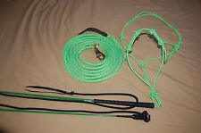 LIME GREEN STIFF HALTER, 14' LEAD ROPE, HANDY CARROT STICK FITS PARELLI TRAINING