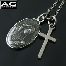 """Dark mini cross coin maria pendant 19"""" chain necklace US SELLER"""