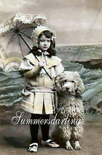 QUILT FABRIC ART BLOCK*GIRL AT BEACH*PARASOL*POODLE DOG*LET'S TAKE A STROLL