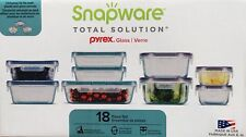 SNAPWARE PYREX Glass Storage Food Containers Lids 18 Pieces Kitchen Set NEW !